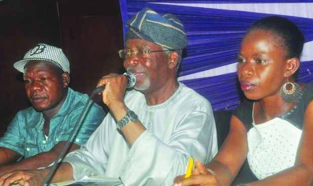(L-r)..  Deputy President Oodua People's Congress (OPC) Otunba Wasiu Afolabi, National Chairman Unity Party Of Nigeria (UPN) Dr Frederick Fasehun, and National welfare Officer Dr Nneoma Nnamah,  at a press Conference Organized by the Party on the Post-Mortem on the 2015 elections in Lagos today 21/4/2015