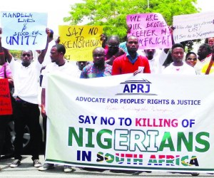 Members of Advocate for Peoples' Rights and Justice on Peaceful protest over the ongoing Xenophobic attacks on Nigerians in South Africa in Abuja on Monday