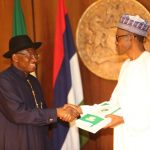 Jonathan submits handover notes to Buhari, conducts President-elect, Vice round Presidential Villa