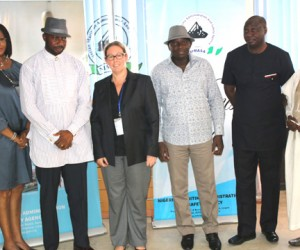 (From left): Head, Protocol Unit, Nigerian Maritime Administration and Safety Agency (NIMASA), Ms Kehinde Bolaji, Director, Shipping Development, Captain Warredi Enisuoh, Australian Deputy High Commissioner, Angela Tierney, Director General, NIMASA, Dr. Ziakede Patrick Akpobolokemi, Executive Director, Maritime Safety and Shipping Development, Captain Ezekiel Bala Agaba and Assistant Director, Maritime Labour Services, Mr. Chiroma Ibrahim when the Australian Deputy High Commissioner paid a courtesy visit to the Agency recently.