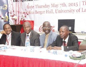 (L-R): Prof Ralph Akinfeleye FNIPR, Chairman, Centre of Excellence, University of Lagos; Barrister Joseph Okonmah, Chairman, NIPR Lagos Chapter; Dr. Rotimi Oladele, FNIPR, President/ Chaiirman Governing Council NIPR and Dr Rotimi Olatunji, Acting Dean, School of Comm. Lagos State University at the 2nd NIPR Lagos Stakeholders' Conference held at the University of Lagos, with the Theme: The Nigerian Consumer- Rights, Duties & Obligations.