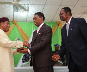 Abia state Governor, Theodore Orji receiving an > award as ''Epitome of Equity and Justice'' > from Prof. Herbert Orji, Chairman, National Broadcasting > Commission on-behalf of ASOPADEC as they honour the governor > in Umuahia as Rt. Hon. Emeka Stanley, Chairman ASOPADEC > (right) watches with interest.