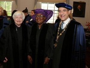 Dr Ngozi Okonjo-Iweala, Nigeria's Co-ordinating Minister for the Economy and Minister of Finance who recently bagged an Honorary Doctorate degree from the Yale University at the presentation of her award