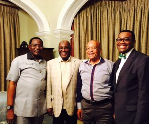 President of South Africa, Jacob Zuma, (m) flanked by former Vice President, Atiku Abubakar (l) and Minister of Agriculture and Nigeria's candidate for Presidency of African Development Bank (AfDB) at the Presidential Residence in Durban, South Africa on Saturday, May 2.