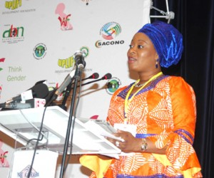 Her Excellency, Mrs. Olufunsho Amosun, First Lady, Ogun State/Honorary Chairperson, WAF-2014 & Awards, speaking at WAF-2014, in Banjul, Gambia.