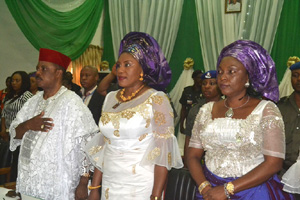 (L-R): Governor Anambra State, Chief Willie Obiano, his Wife Ebelechukwu and Wife of Deputy Governor, Lady Vivian Udeoko Chukwu who represented the Wife of Governor of Abia State at the Mothers' Summit held Friday at Women Development Centre, Awka.