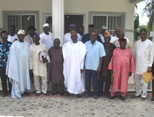 : Chairman, 3rd regular course of Nigeria Defence Academy Alumni Association, Gen. David Mark (rtd) (5th right) with other members of the Association during their Annual General Meeting held in Abuja