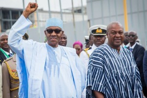 President Muhammadu Buhari (left) with President John Mahama of Ghana when Buhari visited Ghana, Monday