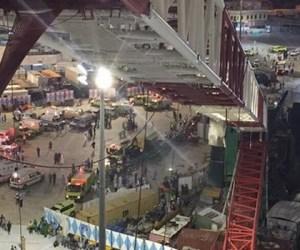 Scene of the crane collapse