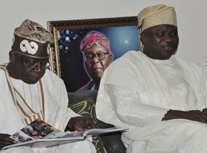 Lagos State Governor, Mr. Akinwunmi Ambode (right) with National Leader, All Progressives Congress (APC), Asiwaju Bola Tinubu during a courtesy visit to Pa Olaniwun Ajayi at his Ijebu-Ishara residence in Ogun State, recently.