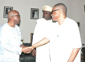 Lagos State Governor, Mr. Akinwunmi Ambode (middle) with Afenifere Leader, Pa Olaniwun Ajayi (left) and Vice Chairman, South West APC, Chief Pius Akinyelure during a courtesy visit to Pa Olaniwun at his Ijebu-Ishara residence in Ogun State, recently.
