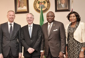 Lagos State Governor, Mr. Akinwunmi Ambode (2nd right), the Ambassador of Republic of Germany to Nigeria, Mr. Michael Zenner (2nd left), Consul General of the Federal of Republic of Germany, Lagos, Mr. Ingo Herbert (left) and the Permanent Secretary, Office of Overseas Affairs & Investment (Lagos Global), Mrs. Arinola Olufunmilayo Odulana (right) during the Ambassador's courtesy visit to the Governor, at the Lagos House, Ikeja, on Monday, September 14, 2015.