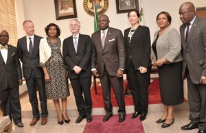 : Lagos State Governor, Mr. Akinwunmi Ambode (4th right) in a group photograph with the Ambassador of Republic of Germany to Nigeria, Mr. Michael Zenner (4th left), Consul General of the Federal of Republic of Germany, Lagos, Mr. Ingo Herbert (2nd left), the Permanent Secretary, Office of Overseas Affairs & Investment, Mrs. Arinola Olufunmilayo Odulana (3rd right), Acting Permanent Secretary, Ministry of Energy & Mineral Resources, Mr. Adeyemi Fashola (left), the Group Management Committee, Knauf Region Southern Europe, Middle East, Africa, Mrs. Isabel Knauf (3rd right), the Permanent Secretary, Ministry of Wealth Creation & Employment, Dr. (Mrs.) Nike Oduwole (2nd right) and her counterpart from Ministry of Transportation, Mr. Oluseyi Whenu (right)  during the Ambassador's courtesy visit to the Governor, at the Lagos House, Ikeja, on Monday, September 14, 2015.