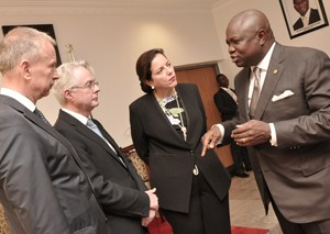 Lagos State Governor, Mr. Akinwunmi Ambode (right) discussing with the Ambassador of Republic of Germany to Nigeria, Mr. Michael Zenner (2nd left), Consul General of the Federal of Republic of Germany, Lagos, Mr. Ingo Herbert (left) and the Group Management Committee, Knauf Region Southern Europe, Middle East, Africa, Mrs. Isabel Knauf (2nd right) during the Ambassador's courtesy visit to the Governor, at the Lagos House, Ikeja, on Monday, September 14, 2015.