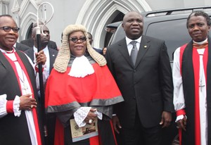Lagos State Governor, Mr. Akinwunmi Ambode (2nd right), with the State Chief Judge, Justice Olufunmilayo Atilade (2nd left), Diocesan Bishop of Lagos & Dean Emeritus, Church of Nigeria (Anglican Communion), Most Revd. Dr. Adebola Ademowo (left) and Lord Bishop of Badagry, Rt. Rev. Babatunde Adeyemi, during the 2015/2016 Legal Year Service at the Cathedral Church of Christ, Marina, on Monday, September 28, 2015.