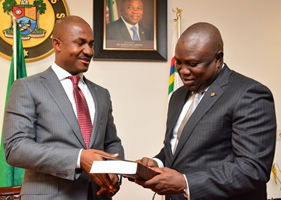 Lagos State Governor, Mr. Akinwunmi Ambode (right) with the Executive Secretary, Nigeria Christian Pilgrims Commission, Mr. John Kennedy Opara during his courtesy visit to the Governor, at the Lagos House, Ikeja, recently.