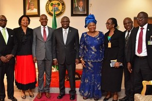 (L-R): Lagos State Governor, Mr. Akinwunmi Ambode (4th left) with the Permanent Secretary, Lands Bureau, Mr. Bode Agoro, Assistant Director, Office of Executive Secretary, Nigeria Christian Pilgrims Commission, Dr. (Mrs.) Ifeoma Unachukwu, Executive Secretary of the Commission, Mr. John Kennedy Opara, Federal Commissioner representing South West, Deaconess Adefemi Taire, Permanent Secretary, Ministry of Home Affairs, Mrs. Grace Oladimeji, her counterpart from Ministry of Commerce, Industry & Cooperatives, Mr. Lekan Akodu, Zonal Coordinator, South West, Nigeria Christian Pilgrims Commission, Mr. Benedict Okoh and Secretary, Lagos State Christian Pilgrims Board, Mrs. Olayinka Bamgbose during the Commission's courtesy visit to the Governor, at the Lagos House, Ikeja, recently.