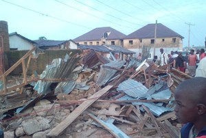 The collapsed school building in Jos