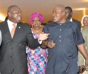 L-R: Lagos State Governor, Mr. Akinwunmi Ambode, his wife & Chairman, Committee of Wives of Lagos State Officials (COWLSO), Mrs. Bolanle Ambode and the Speaker, Lagos State House of Assembly, Rt. Hon. Mudashiru Obasa during the closing ceremony of the National Women Conference 2015 with the theme: Relevance in Economic Turbulence, organized by COWLSO, at the Convention Centre, Eko Hotels & Suite on Friday, September 18, 2015.