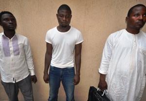 The arrested persons: Usman Abduhakim, Yahaya Baba and Yakubu Dankaba