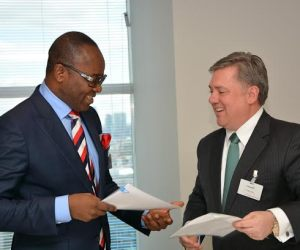 A New Dawn- Group Managing Director of the Nigerian National Petroleum Corporation, NNPC, Dr. Ibe Kachikwu with the Managing Director of Chevron Nigeria Limited, Mr. Clay Neff at the Signing-Ceremony of the $1.2 billion Alternative Funding Arrangement package for the financing of 36 Oil wells under the NNPC/CNL Joint Venture in London ……over the weekend.