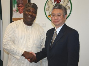 Governor Ifeanyi Ugwuanyi of Enugu State receiving the Thailand Ambassador to Nigeria, Mr. Chailert  Limsomboon, during his visit to the Government House, Enugu..recently