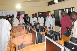 The State's Deputy Governor, Prof. Hafiz Abubakar leading the team of Government officials to the commissioning of the Etisalat Nigeria's ICT Centre which the telecoms firm t renovated at Girls' Government College, Dala, Kano State under its CSR-based Adopt-A-School Initiative.