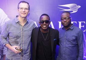 (L-R) Olivier Fages, Managing Director, Pernod Ricard Nigeria; Jude Abaga (MI), Hip-hop artist and Sola Oke, Marketing Director, Pernod Ricard Nigeria at the Martell VIC event where MI was announced as Martell Advocate held at Cova Lounge, Victoria Island on Friday, 3rd October, 2015