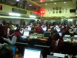 Floor of the Nigerian Stock Exchange