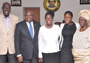 Lagos State Governor, Mr. Akinwunmi Ambode (2nd left) with the newly appointed Tutor-General/Permanent Secretary for Education District IV, Mrs. Lola Are-Adegbite, her Elder brother, Mr. Miftah Bolaji Are (left), her daughter, Miss Detola Adegbite(2nd right) and relative, Mrs. Olaide Agoro (right) during Mrs. Are-Adegbite swearing in ceremony, at the Lagos House, Ikeja, on Monday, October 05, 2015.