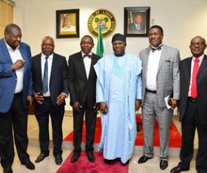 (R-L): Lagos State Governor, Mr.Akinwunmi Ambode (3rd right) with Tennis Captain, Mr. Olumide Odusanya, President of Lagos Lawn Tennis Club, Barrister Rotimi Edu, Secretary of the Club, Mr. Adewunmi Adisa, Ex-Officios of the Club; Engr. Sadiku and Mr. Yomi Erogbogbo, during a courtesy visit to the Governor by the President and Board of Trustees of Lagos Lawn Tennis Club, at the Lagos House, Ikeja, on Wednesday, September 30, 2015.