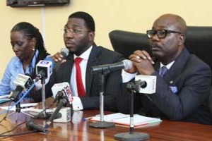 (R-L): Acting Permanent Secretary, Ministry of Energy and Mineral Resources, Mr. Taofeek Fashola, Special Assistant on Energy to the Governor, Mr. Deji Williams and Head, Power Department, Ministry of Energy and Mineral Resources, Engr. Ibilola Kasunmu, during a media briefing on project Light Up Lagos by Governor Akinwunmi Ambode, at the Bagauda Kaltho Press Centre, the Secretariat, Alausa, Ikeja, on Thursday, October 08, 2015.
