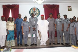 Comptroller Ajayi, Governor Obiano and Deputy Governor Okeke, in a group photograph