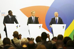 (L to R) President Macky Sall of Senegal, European Council President Donald Tusk and Maltese Prime Minister Joseph Muscat address a press conference at the end of the Valletta Summit on Migration in Valletta, Malta, Thursday (Reuters)