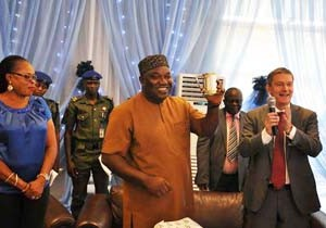 Executive Governor of Enugu State, Ifeanyi Ugwuanyi, (middle); Hon. Cecilia Ezeilo, Deputy Governor of Enugu State (1st left) and  MD/CEO, Nigerian Breweries Plc, Mr. Nicolaas  Vervelde, during the recent visit of the Governor to the Ama Brewery