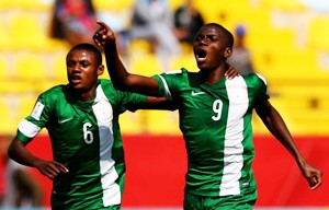 Victor Osimhen celebrates after scoring for Golden Eaglets
