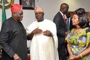 Lagos State Governor, Mr. Akinwunmi Ambode (middle), discussing with Chairman, Sickle Cell Foundation Nigeria (SCFN), Prof. Olu Akinyanju (left) and Vice Patron of the Foundation, Chief Mrs. Opral Benson, during a courtesy visit to the Governor by SCFN, at the Lagos House, Ikeja, on Monday, November 09, 2015.
