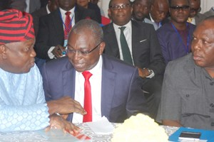 (L-R): Lagos State Governor, Mr. Akinwunmi Ambode; discussing with Commissioner for Transportation, Dr. Dayo Mobereola and Special Adviser, Transportation, Prince Anofiu Elegushi; during the Traffic Management & Transportation Summit with theme; Tackling Current, Evolving and Future Traffic Management Needs of Lagos State, organised by the State Ministry of Transportation, at the Civic Centre, Ozumba Mbadiwe Street, Victoria Island, Lagos, on Thursday,