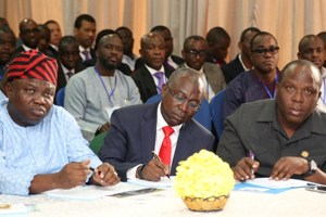 (L-R): Lagos State Governor, Mr. Akinwunmi Ambode; with Commissioner for Transportation, Dr. Dayo Mobereola and Special Adviser, Transportation, Prince Anofiu Elegushi; during the Traffic Management & Transportation Summit with theme; Tackling Current, Evolving and Future Traffic Management Needs of Lagos State, organised by the State Ministry of Transportation, at the Civic Centre, Ozumba Mbadiwe Street, Victoria Island, Lagos, on Thursday,