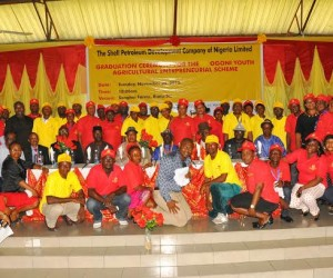 Cross section of beneficiaries of the 2015 Ogoni Youths Agricultural Entrepreneurial Scheme sponsored by the Shell Petroleum Development Company Joint Venture, at the graduation ceremony held on Tuesday at Bunu-Tai, Rivers State.