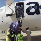 Passengers disembarking from Aero Contractors chartered flight in Bauchi