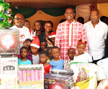 (L-R): Director, Corporate Communications & CSR, Airtel, Emeka Oparah; Managing Director and Chief Executive Officer, Airtel, Segun Ogunsanya and Director, , Arrow of God Orphanage, David Ogo-Tsegah during the presentation of gifts to kids of the orphanage at Ajah, Lagos on Tuesday.