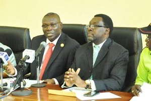 (R-L): Commissioner for Special Duties & Intergovernmental Relations, Mr. Oluseye Oladejo, addressing the newsmen during a press briefing on prevention, mitigation and rescue of emergency occurrences and the Lagos State Response to Terrorists Attacks all over the World in recent Times, at the Bagauda Kaltho Press Centre, the Secretariat, Alausa, Ikeja, Tuesday, December 08, 2015. With him are General Manager, Lagos State Emergency Management Agency (LASEMA), Hon. Michael Akindele; Commissioner for Information & Strategy, Mr. Steve Ayorinde and Permanent Secretary, Ministry of Special Duties & Intergovernmental Relations, Dr. (Mrs.) Ibironke Sodeinde.