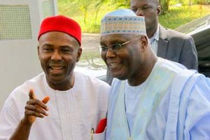 """Former Vice President Atiku Abubakar and Dr Ogbonnaya Onu at the public presentation of Onu's book, """"From Opposition to Governing Party: Nigeria's APC Merger Story"""" at Yar'Adua Center, Abuja on Monday,"""