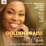 Sensational Gospel singer, Tope Alabi, celebrates 50th birthday