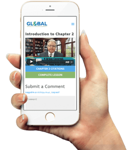 Woman holding a phone with Global Project . Management lesson on the screen