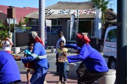 Some dancers outside of President Mandela's house