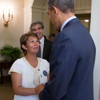 Nohra Padilla conhece o Presidente dos EUA Barack Obama. Foto: Prêmio Ambiental Goldman.