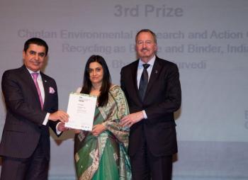 Chintan receives the UN Intercultural Innovation Award. Photo credit: Chintan.