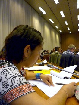 Nohra Padilla speaking at the Workers' committee on Sustainable Development. Photo: Lucia Fernandez.